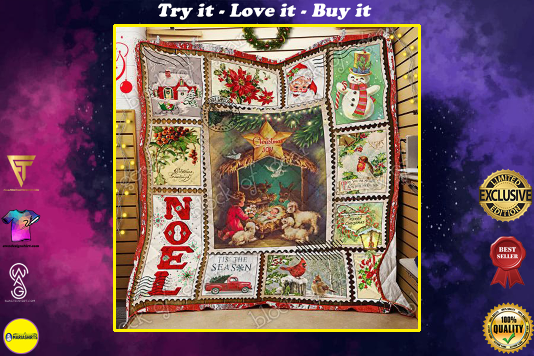 christmas joy to the world and merry christmas all over print quilt