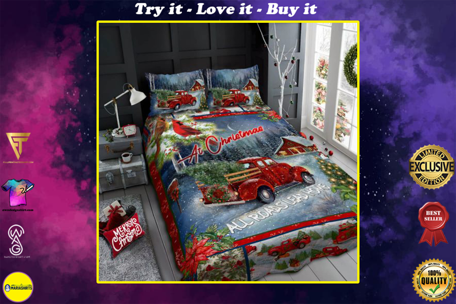 christmas red truck at christmas all roads lead home bedding set