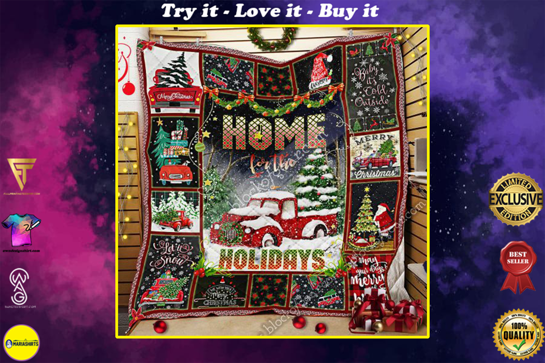 christmas red truck home for the holiday all over print quilt