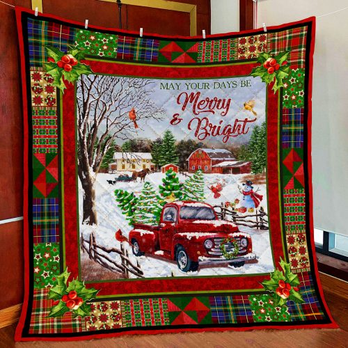 christmas red truck may your days be merry and bright all over print quilt 2