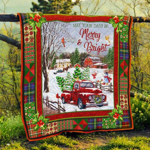 christmas red truck may your days be merry and bright all over print quilt 4