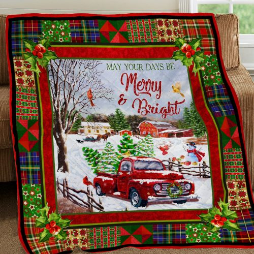 christmas red truck may your days be merry and bright all over print quilt 5
