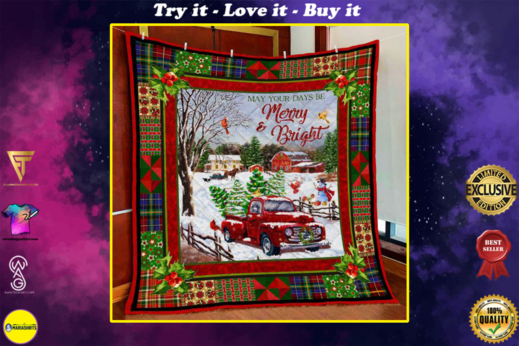 christmas red truck may your days be merry and bright all over print quilt