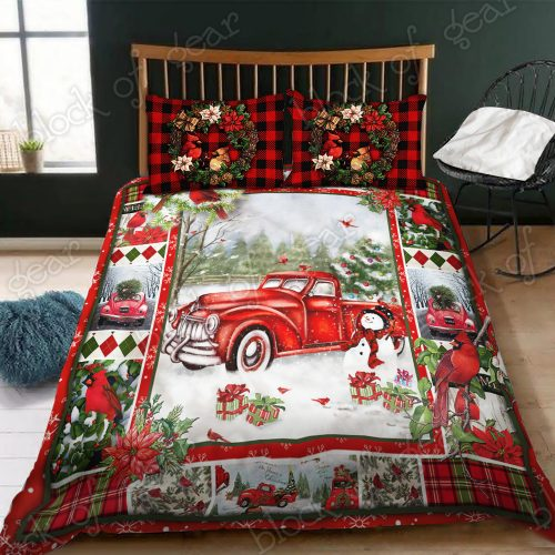 christmas red truck snowy cardinals full printing bedding set 3