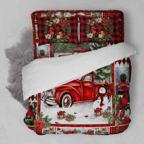 christmas red truck snowy cardinals full printing bedding set 5