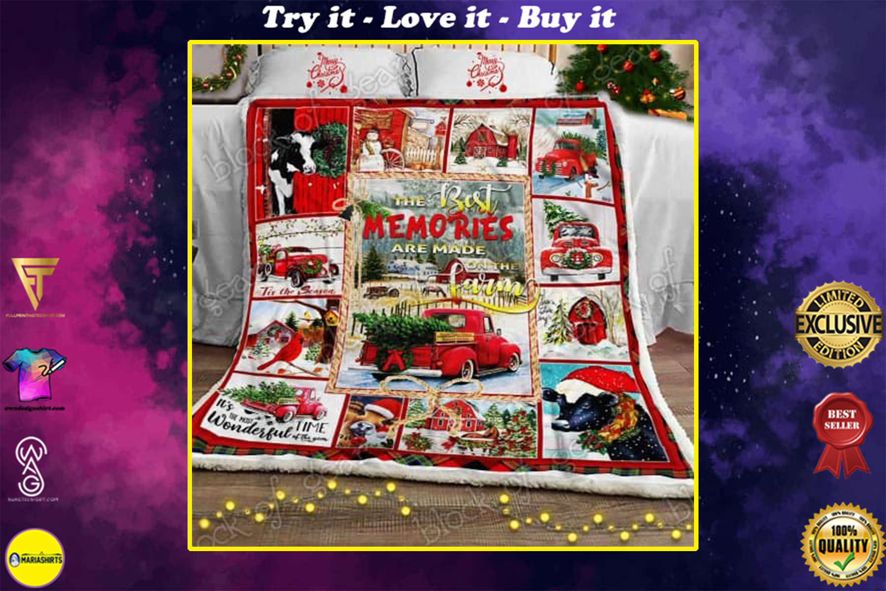 christmas red truck the best memories are made on the farm blanket