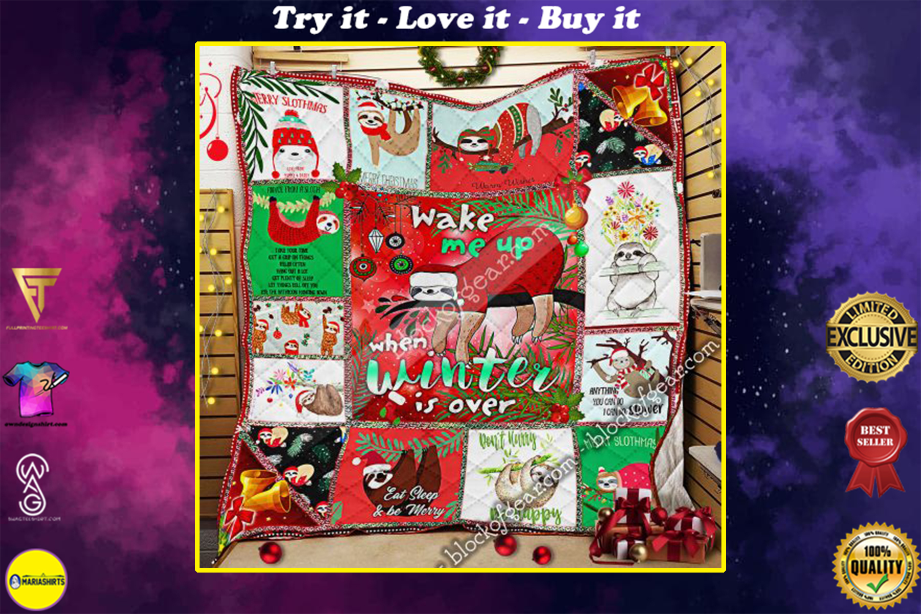 christmas sloth wake me up when winter is over all over print quilt