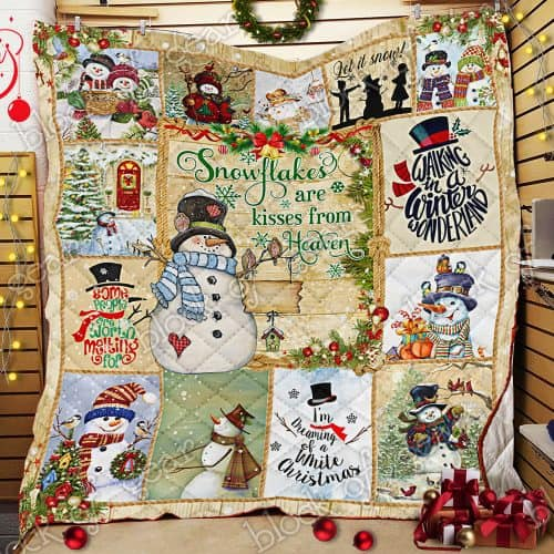 christmas snowman snowflakes are kisses from heaven quilt 2