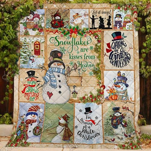 christmas snowman snowflakes are kisses from heaven quilt 3