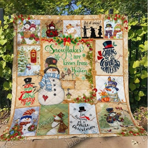 christmas snowman snowflakes are kisses from heaven quilt 4