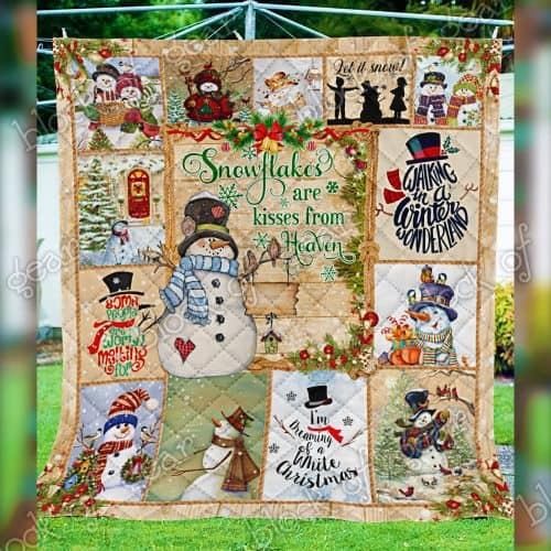 christmas snowman snowflakes are kisses from heaven quilt 5