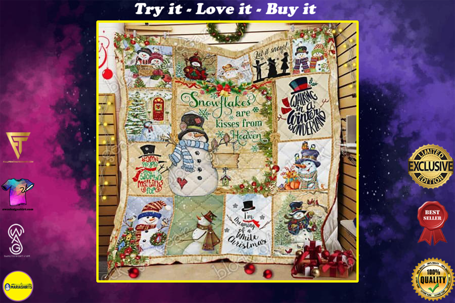 christmas snowman snowflakes are kisses from heaven quilt