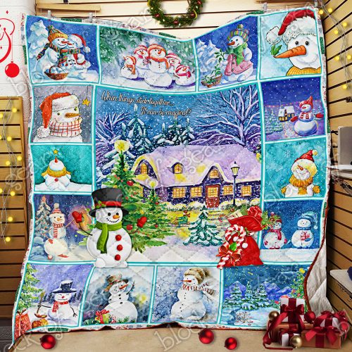 christmas snowman when things stick together all over print quilt 2