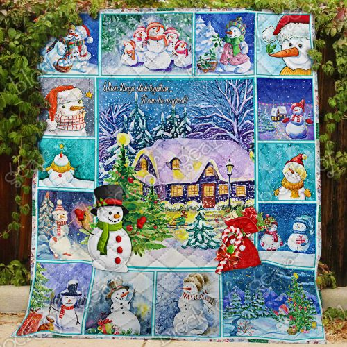 christmas snowman when things stick together all over print quilt 3
