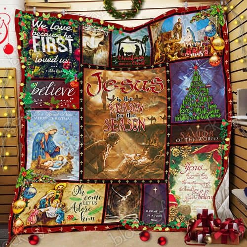 christmas time Jesus is the reason for the season all over print quilt 2
