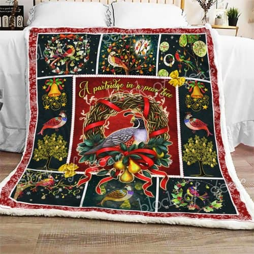 christmas time a partridge in a pear tree all over printed blanket 2