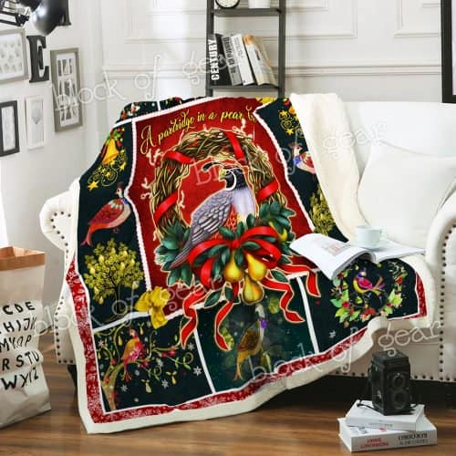 christmas time a partridge in a pear tree all over printed blanket 3