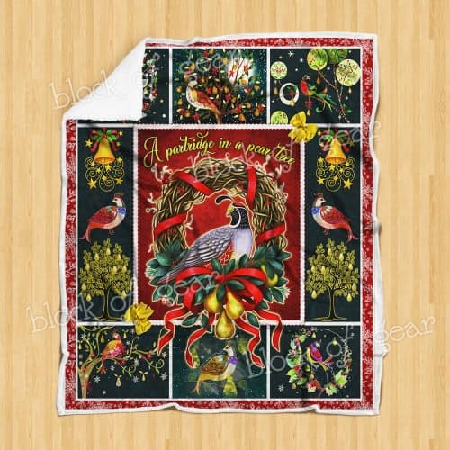 christmas time a partridge in a pear tree all over printed blanket 4
