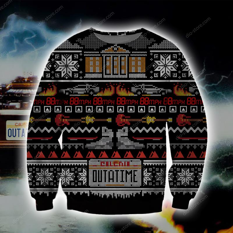 christmas time back to the future all over printed ugly christmas sweater 3