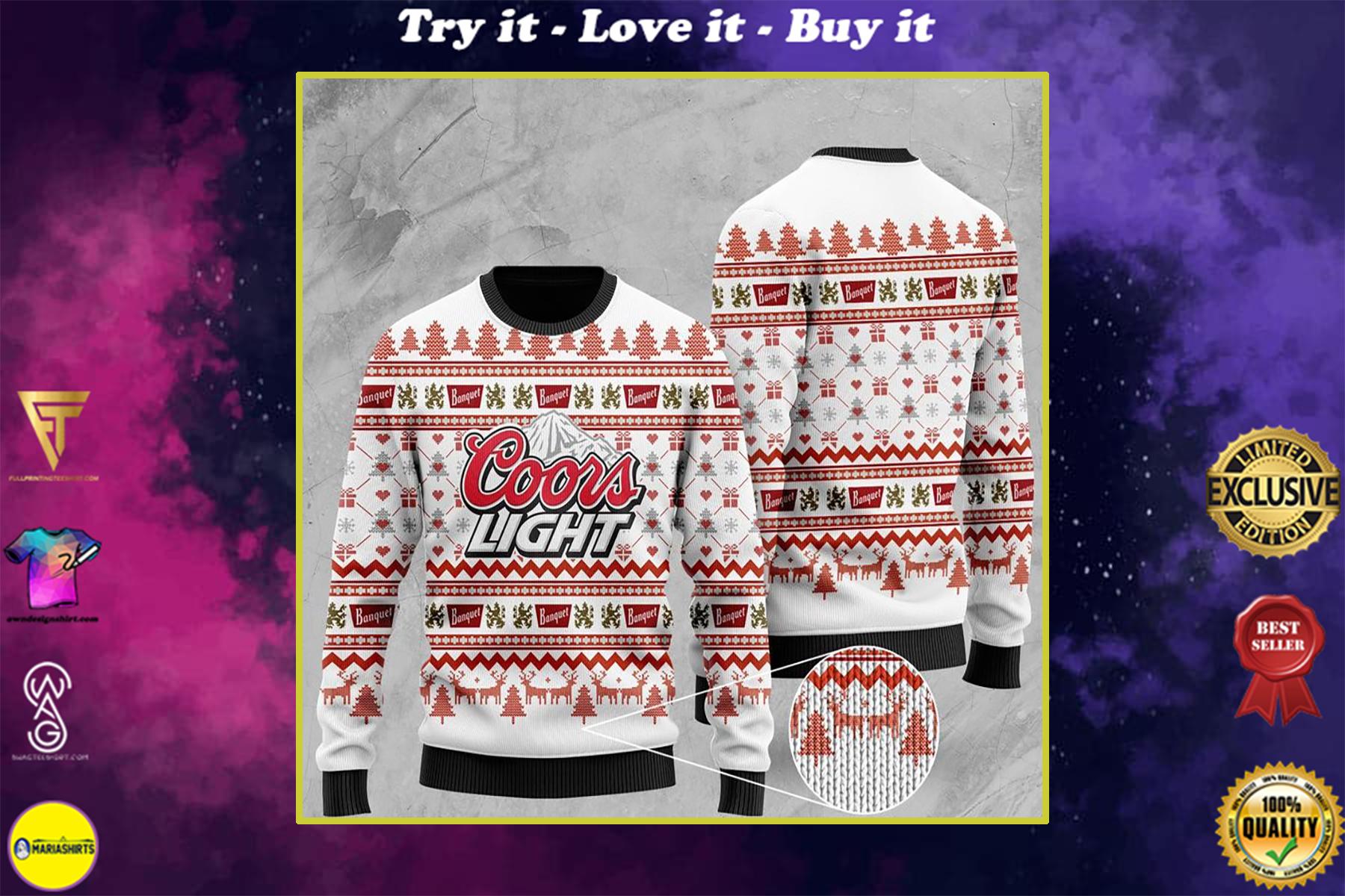 christmas time coors light all over printed ugly christmas sweater