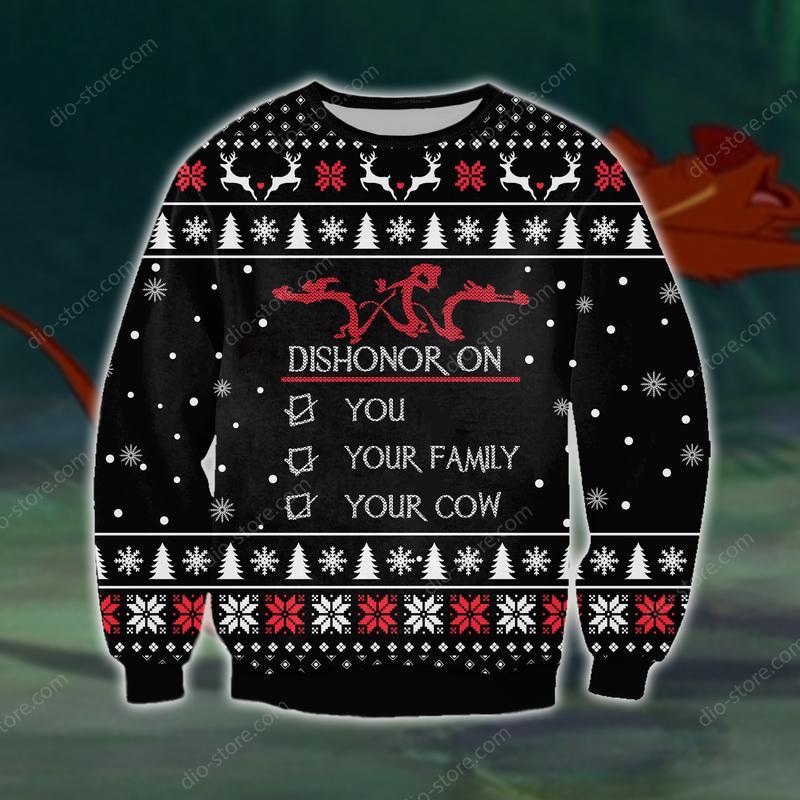 christmas time dishonor on you all over printed ugly christmas sweater 2