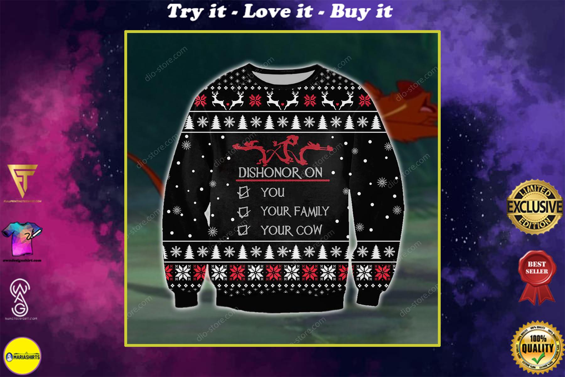 christmas time dishonor on you all over printed ugly christmas sweater