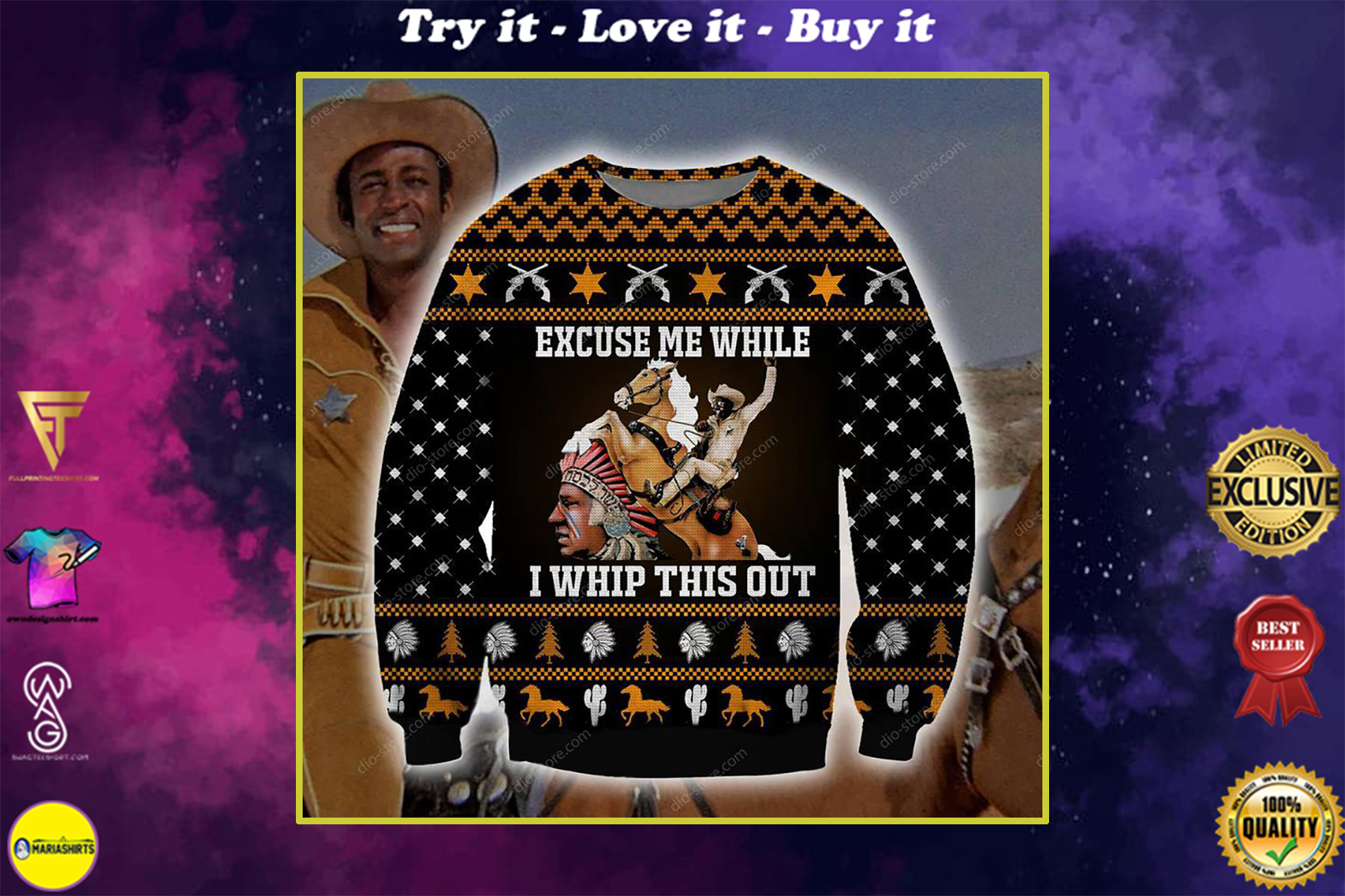 christmas time excuse me while i whip this out ugly christmas sweater