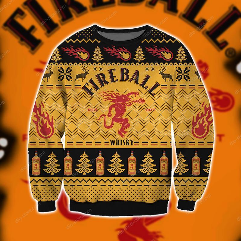 christmas time fireball cinnamon whisky ugly christmas sweater 5