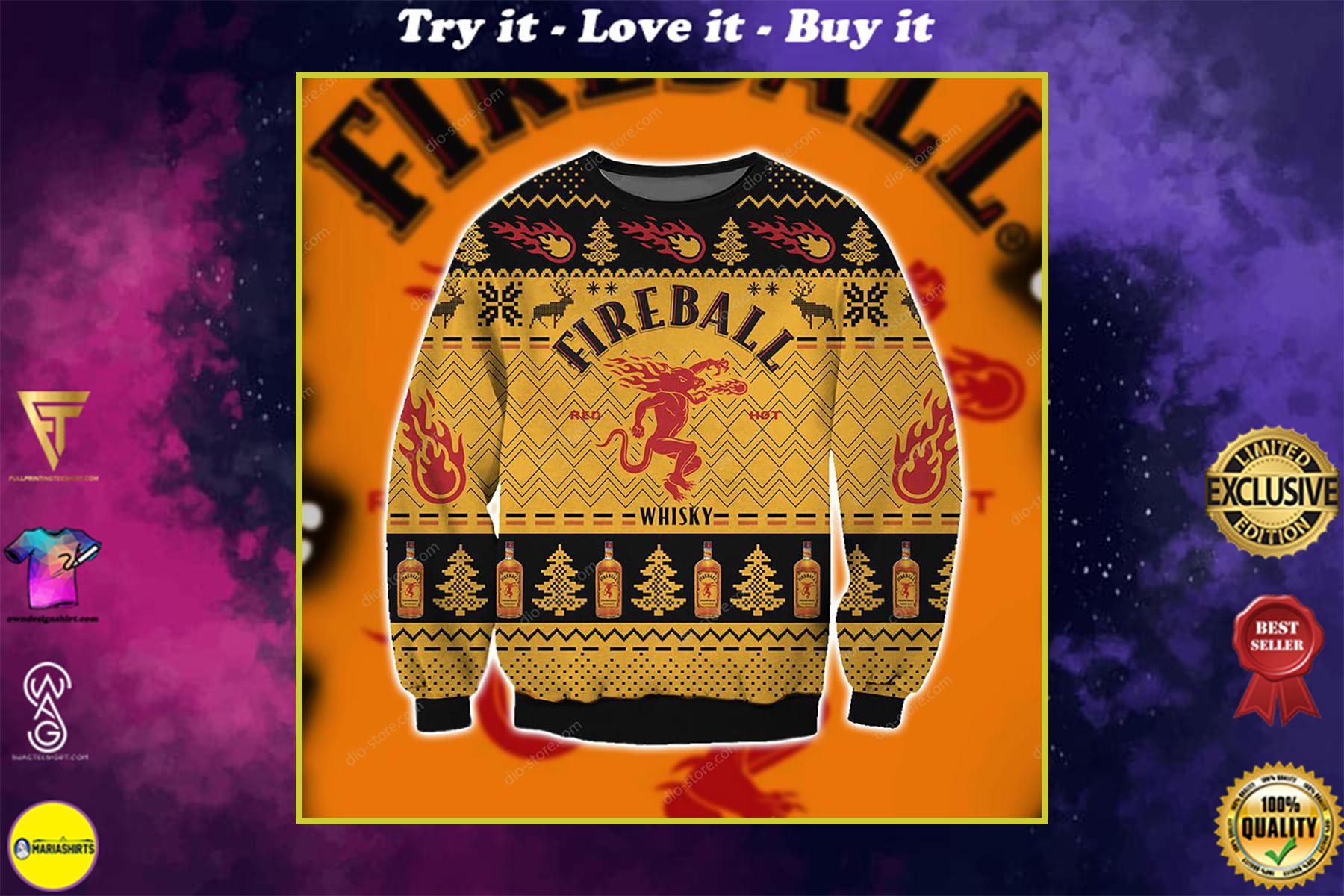 christmas time fireball cinnamon whisky ugly christmas sweater