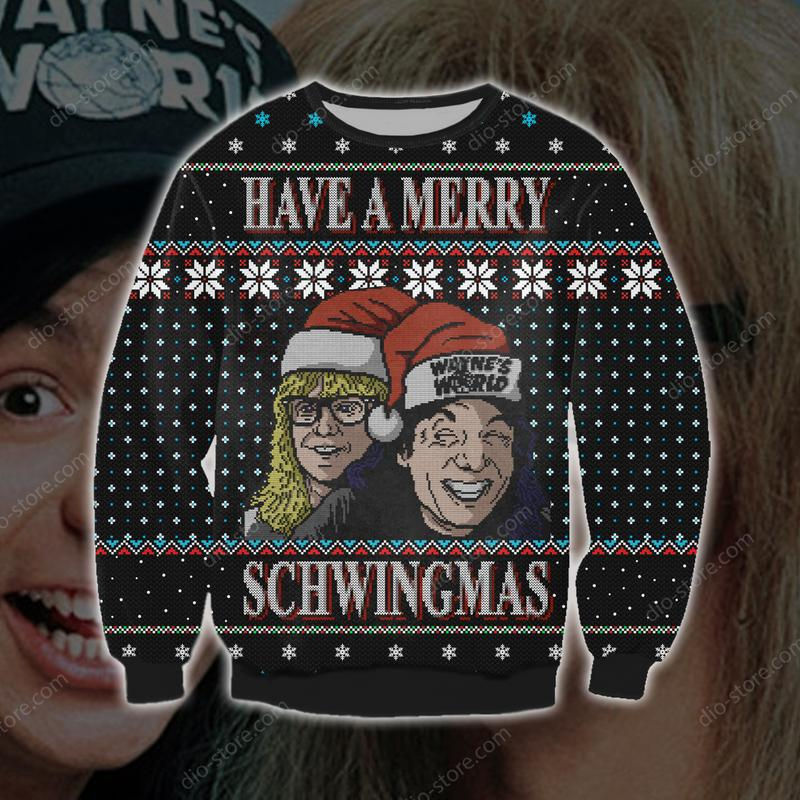 christmas time have a merry schwingmas all over printed ugly christmas sweater 3