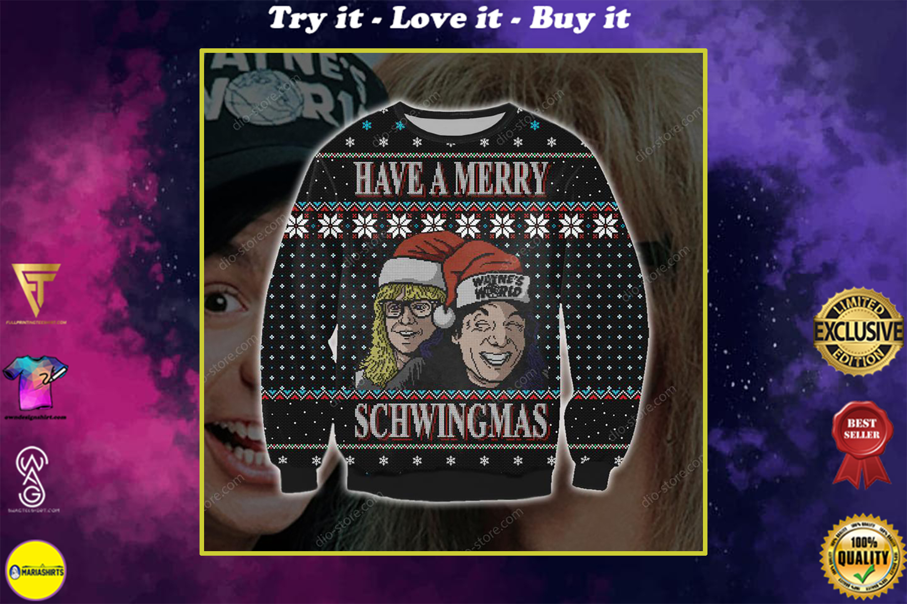 christmas time have a merry schwingmas all over printed ugly christmas sweater