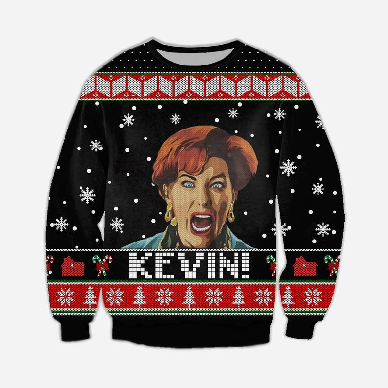 christmas time home alone full printing ugly christmas sweater 3