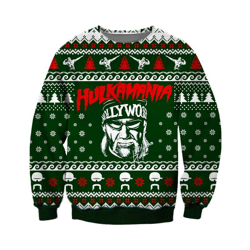 christmas time hulkamania all over printed ugly christmas sweater 2