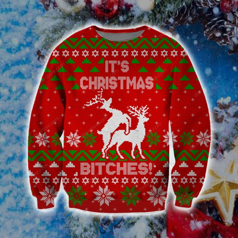 christmas time humping reindeer its christmas ugly christmas sweater 2 - Copy