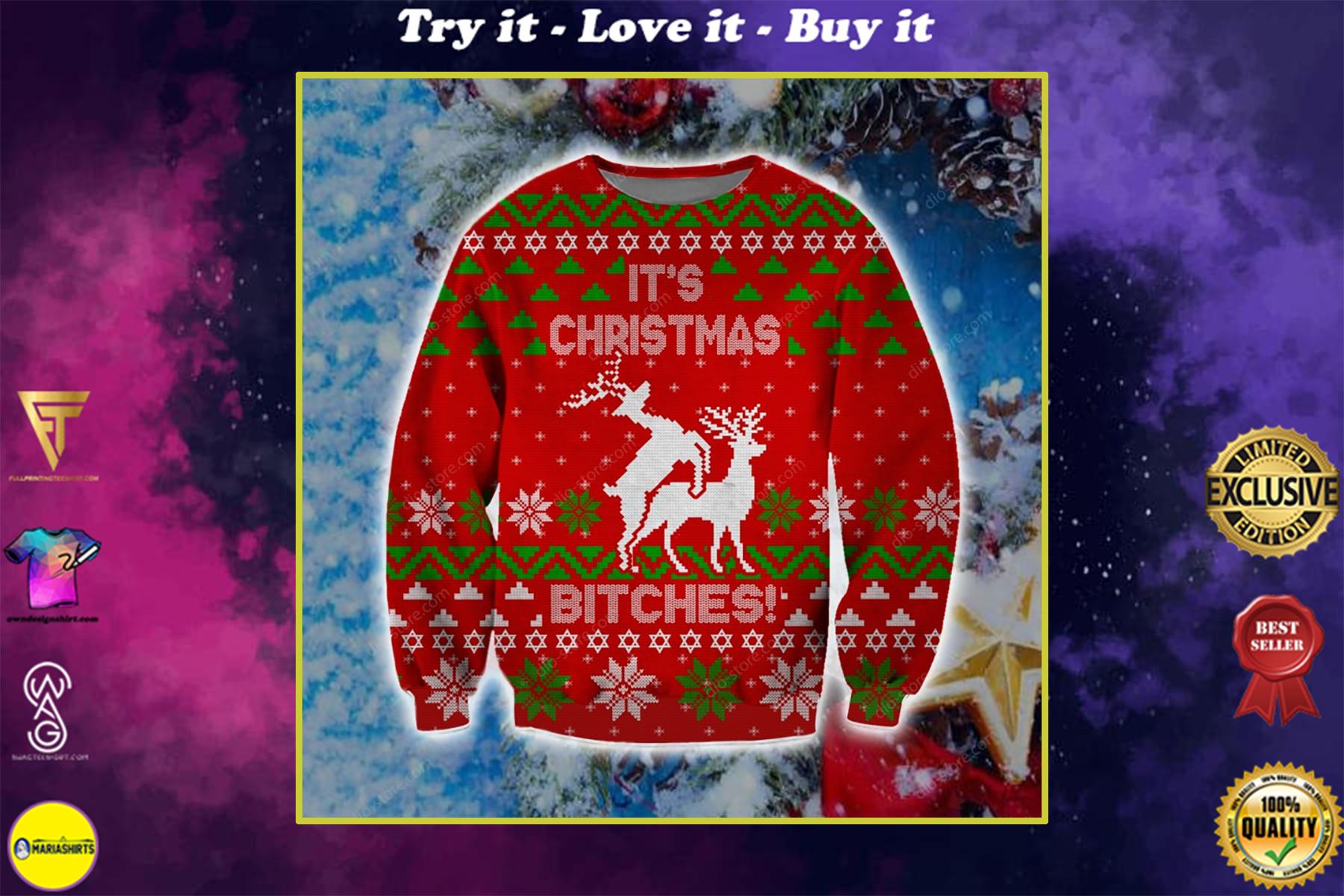 christmas time humping reindeer its christmas ugly christmas sweater
