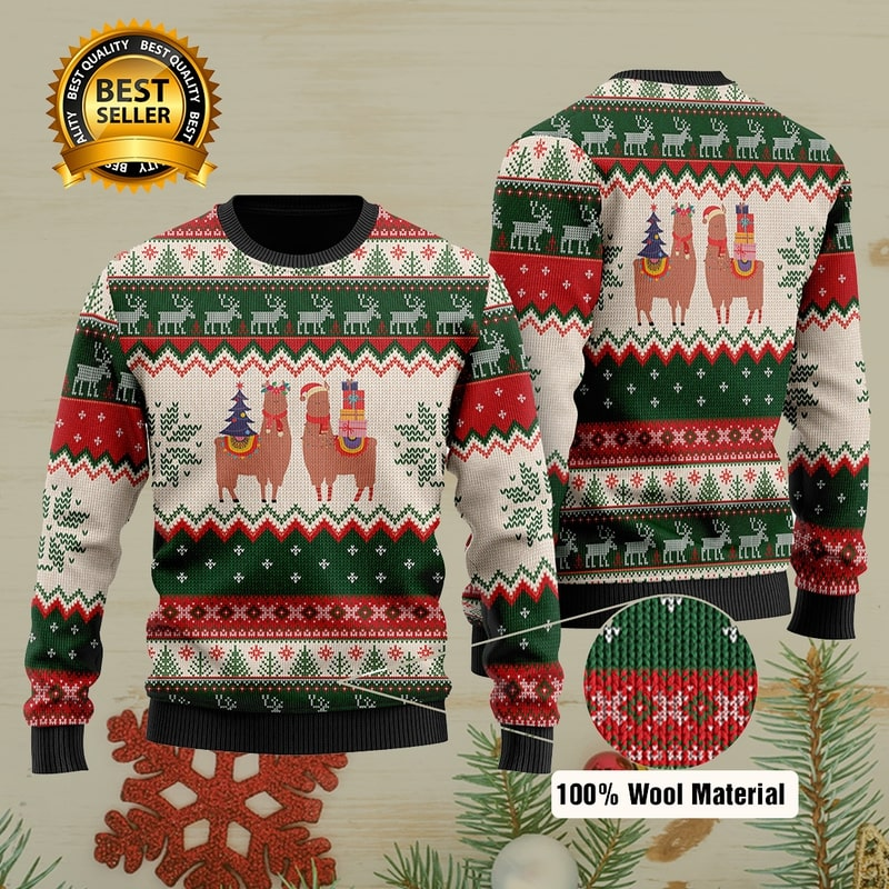 christmas time llama all over printed ugly christmas sweater 2 - Copy (2)