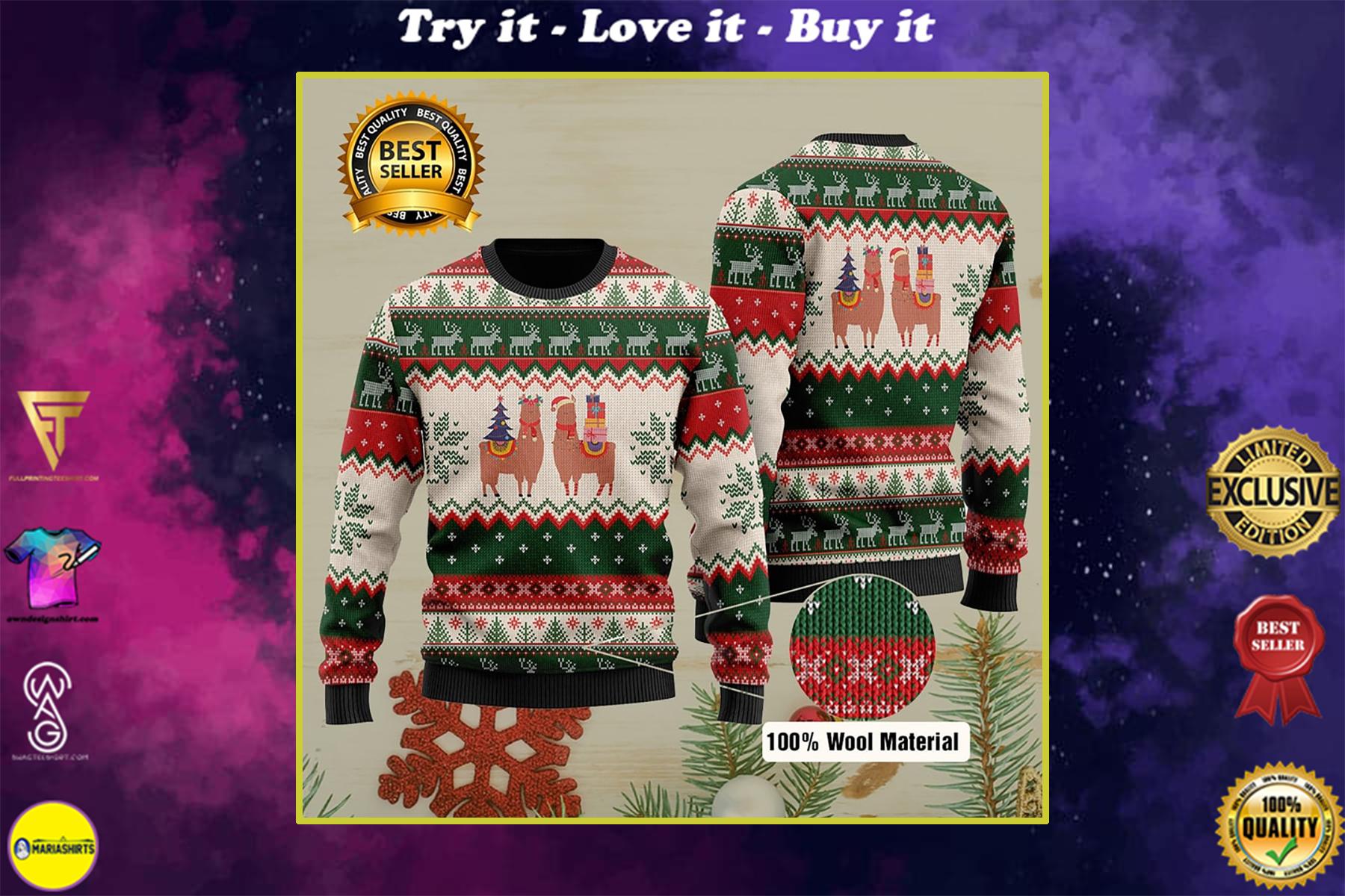 christmas time llama all over printed ugly christmas sweater