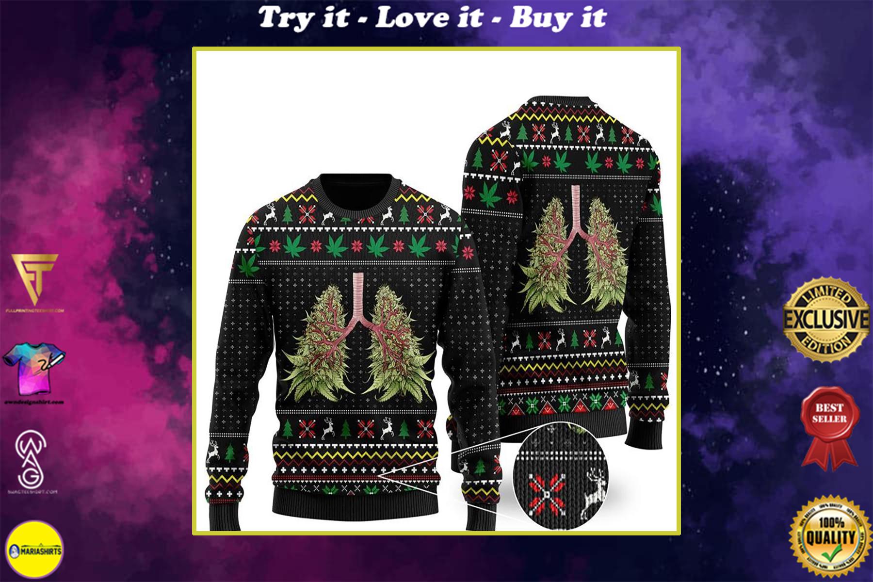 christmas time lung tree all over printed ugly christmas sweater