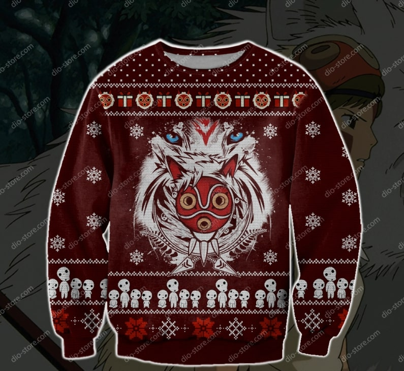 christmas time princess mononoke ugly christmas sweater 2 - Copy