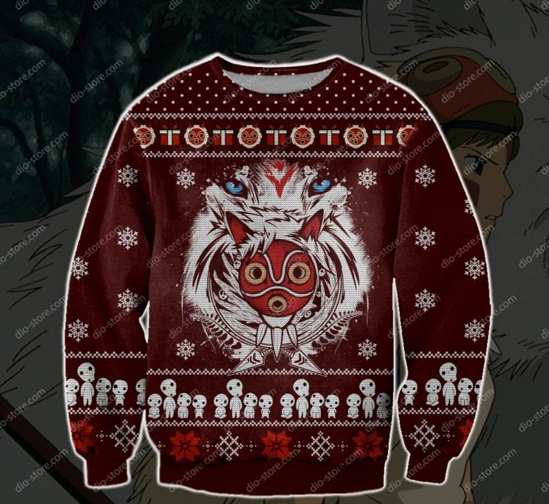christmas time princess mononoke ugly christmas sweater 2