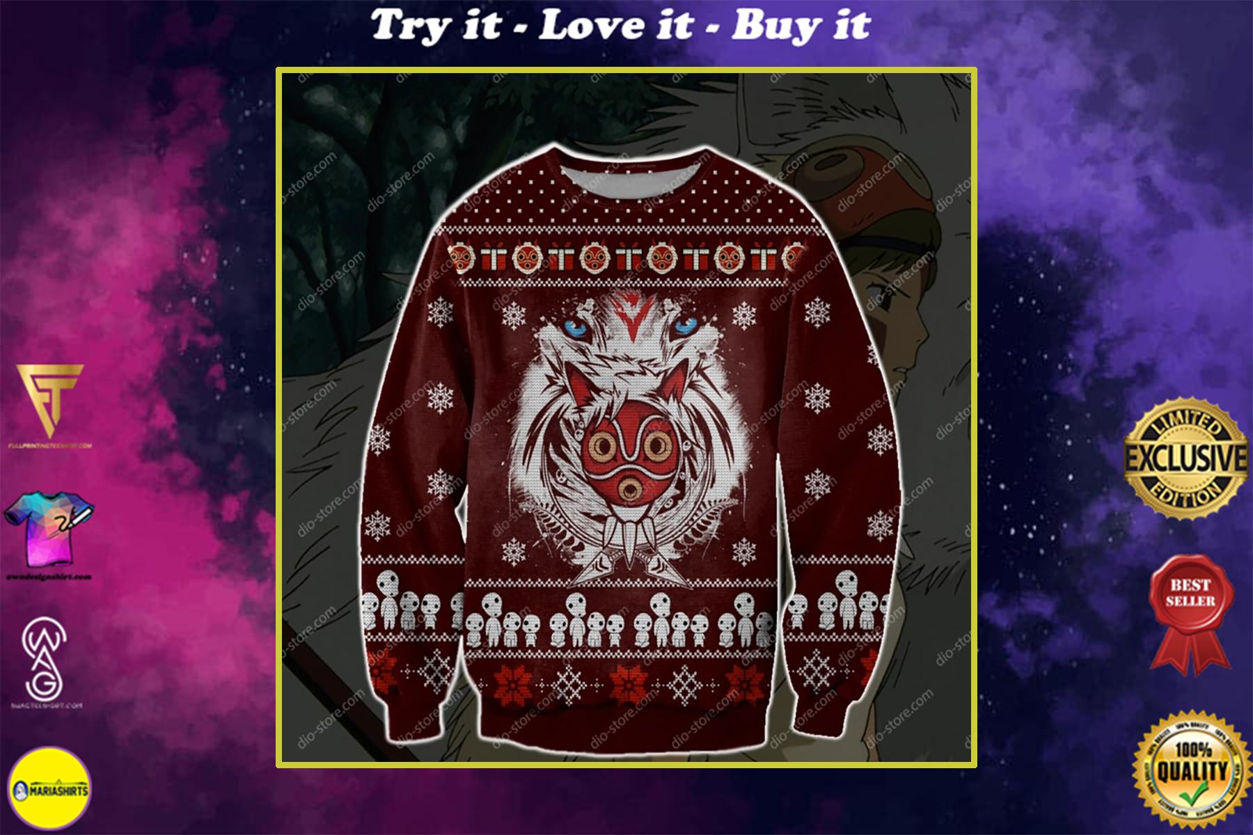 christmas time princess mononoke ugly christmas sweater