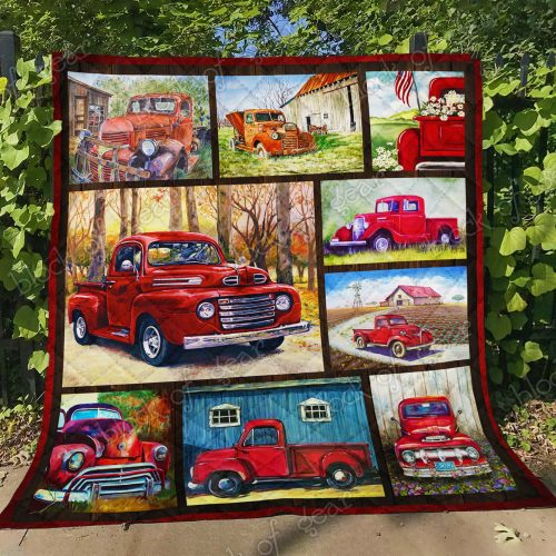 christmas time red pickup truck all over print quilt 2