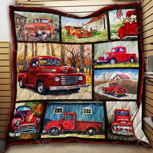 christmas time red pickup truck all over print quilt 3
