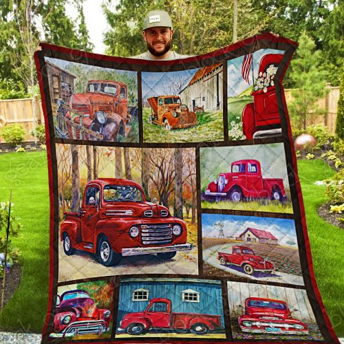 christmas time red pickup truck all over print quilt 5
