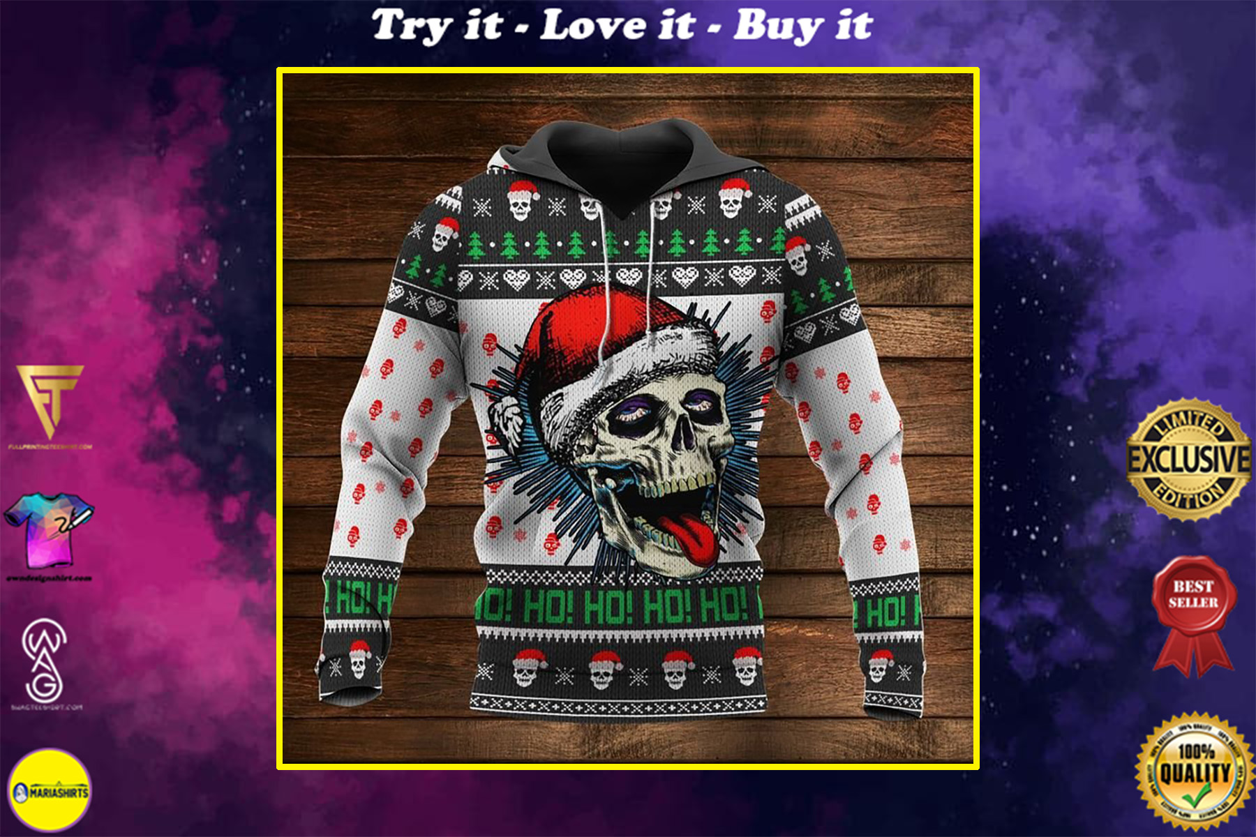 christmas time santa skull ho ho ho full printing shirt