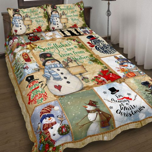 christmas time snowflakes are kisses from heaven bedding set 3