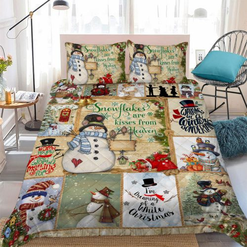 christmas time snowflakes are kisses from heaven bedding set 4