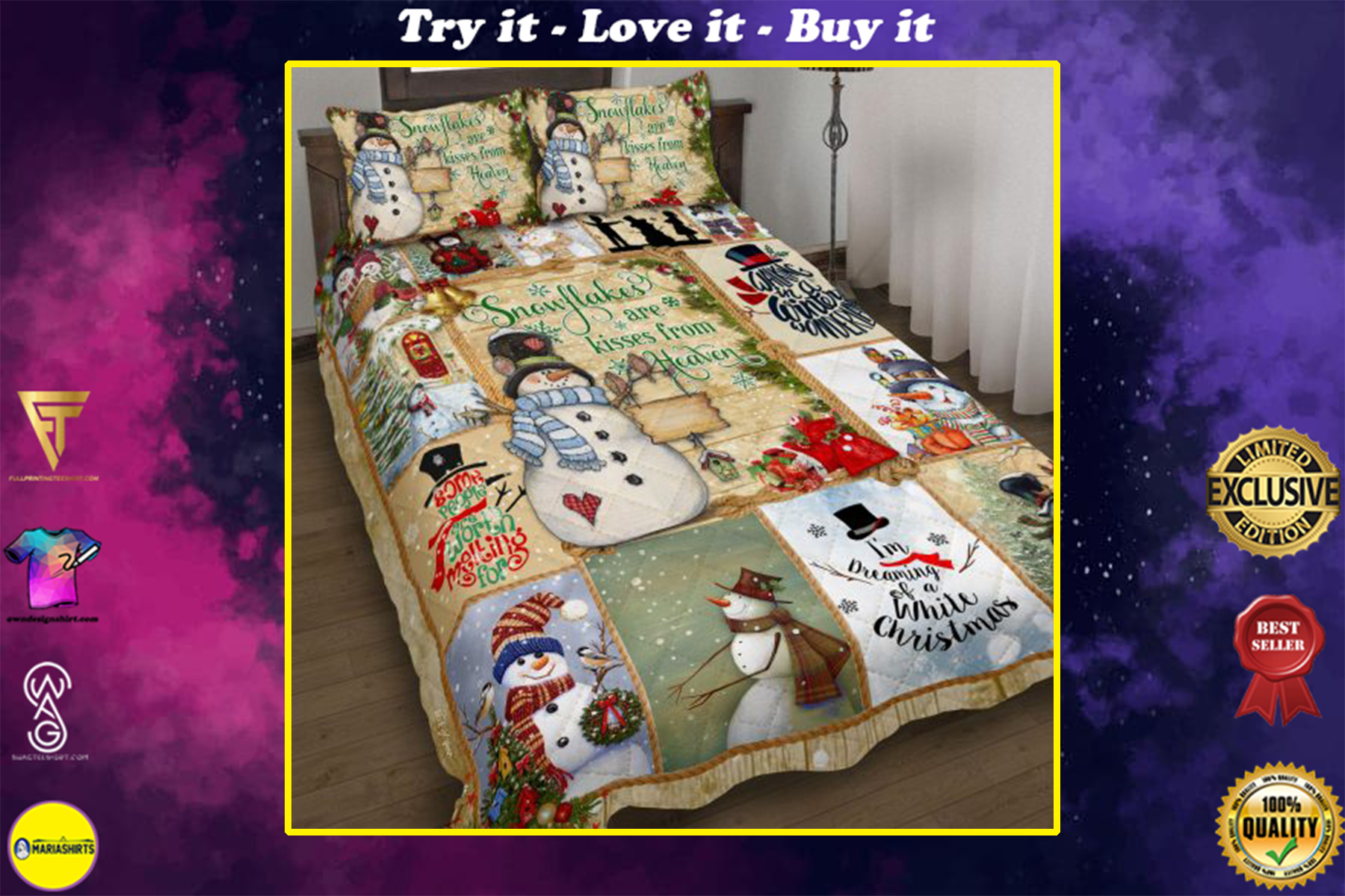 christmas time snowflakes are kisses from heaven bedding set