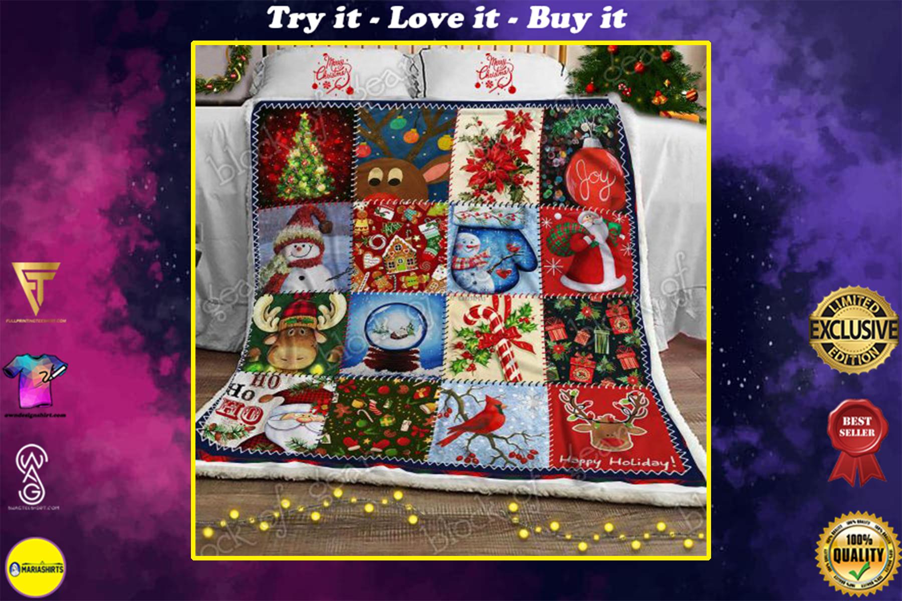 christmas time snowman cardinal bird and santa blanket