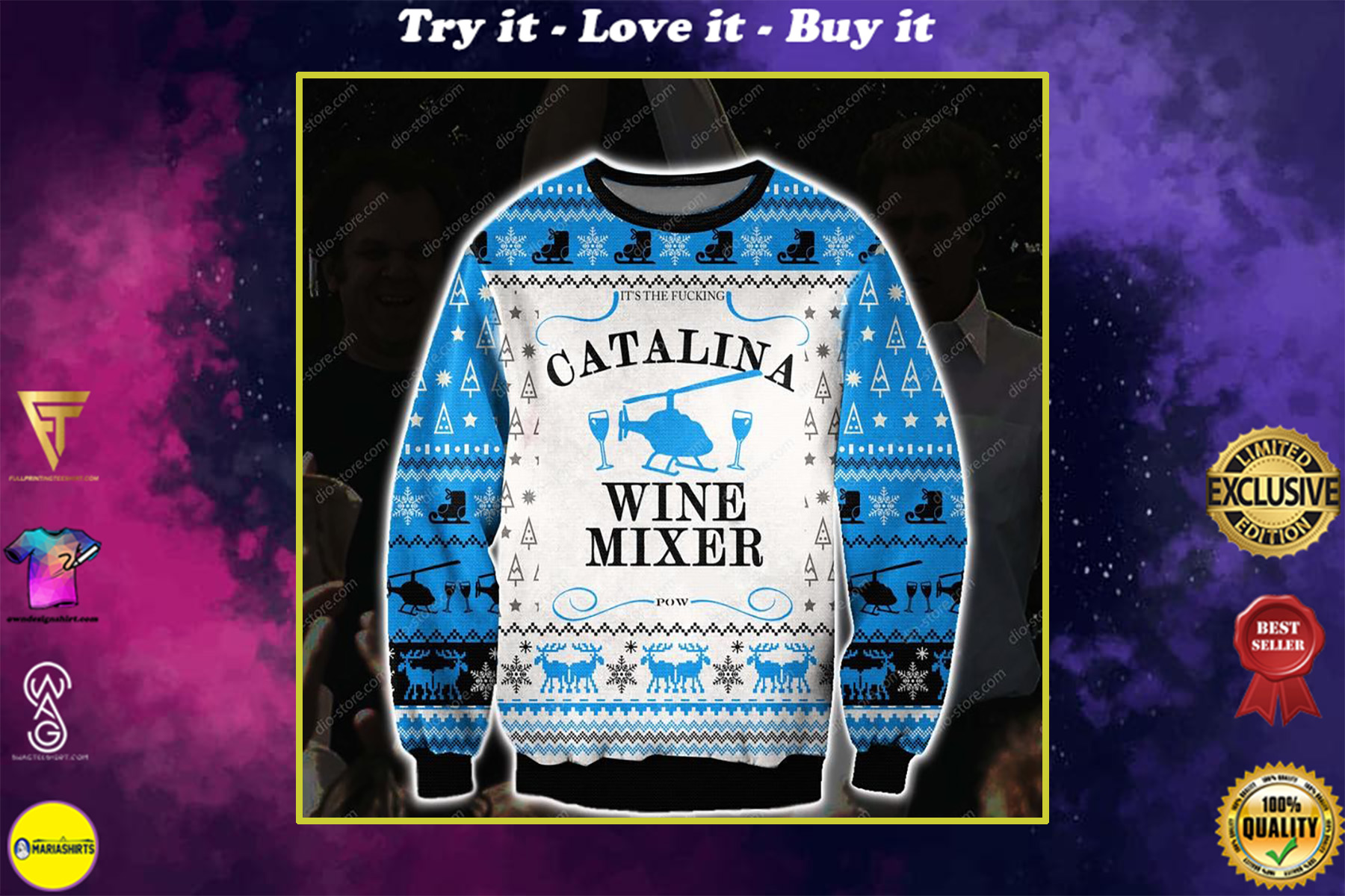 christmas time step brothers catalina wine mixer all over printed ugly christmas sweater